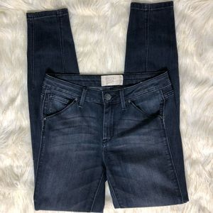 Rachel Roy Moto Denim Seamed Skinny Jeans Sz 27